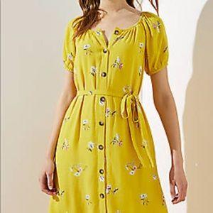 Loft yellow floral dress scope necklace size S
